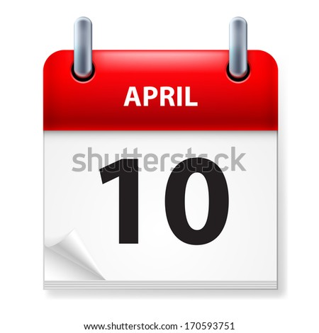 Raster version. Tenth in April Calendar icon on white background - stock photo