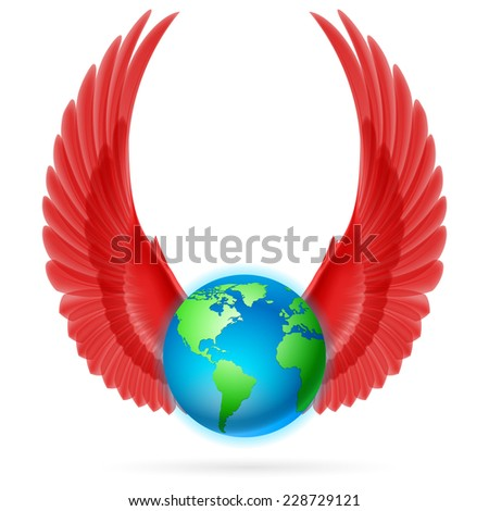 Raster version. Terrestrial globe with two red wings up on white background.  - stock photo
