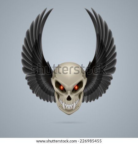 Raster version. Terrifying mutant skull with long fangs and black wings  - stock photo