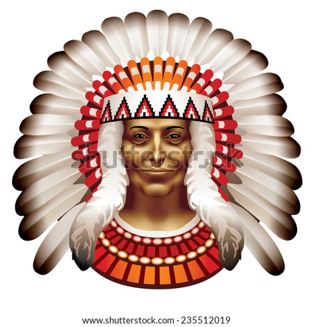 Raster version / The head of an Indian chief - stock photo