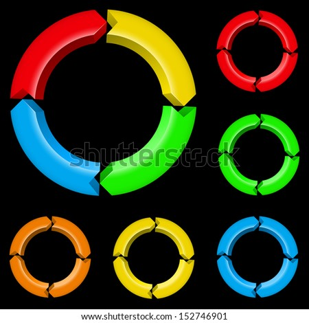 Raster version. Third set of colored arrows. Illustration for design on black background - stock photo