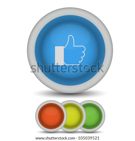raster version.  thumbs up icon on white - stock photo