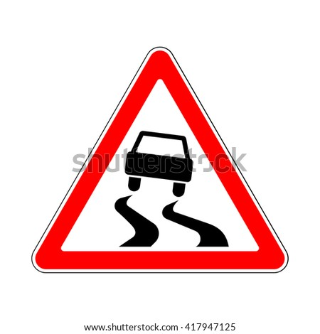 Raster version. Traffic-Road Sign: Slippery or Hazardous Road Surface when Wet - stock photo