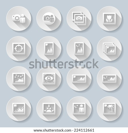 Raster version. Travel Landscapes Icons with different photo shot ilustrations of man with camera and varius landscapes with flower,sun,moon,palm,stars and mountains  - stock photo