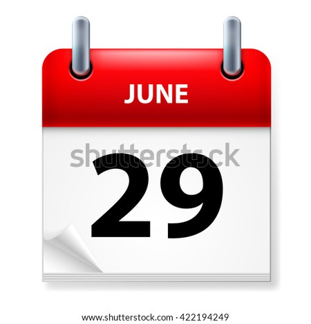 Raster version. Twenty-ninth June in Calendar icon on white background