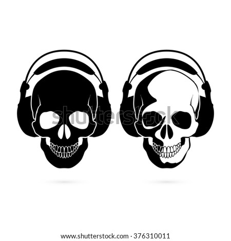 Raster version. Two black and white skulls with headphone. Music fan