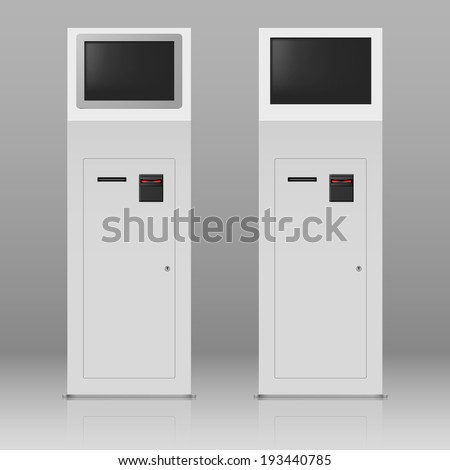 Raster version. Two digital terminals with touchscreen for payment service - stock photo