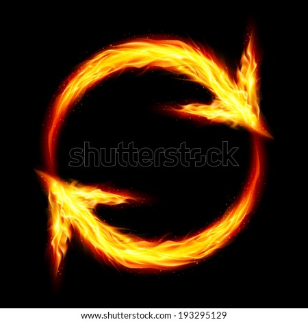 Raster version. Two fire circular arrows on black background