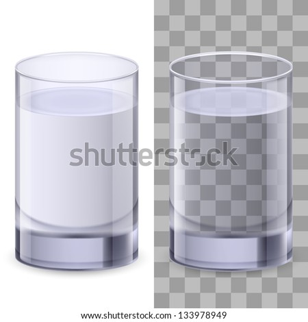 Raster version. Two realistic glasses of water. Illustration on white background for creative design. - stock photo