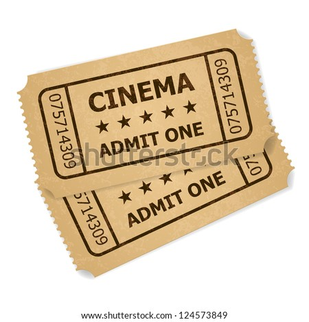 Raster version. Two retro cinema tickets. Illustration of designer on a white background - stock photo