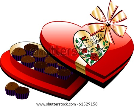 Raster version Valentine Heart Box of Chocolate candy isolated. - stock photo