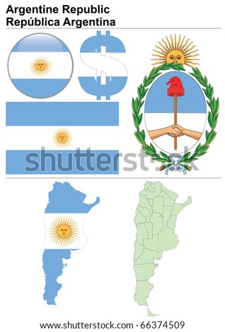 Raster version (vector available in my portfolio) of Argentina collection including flag, map (administrative division), symbol, currency unit & glossy button - stock photo