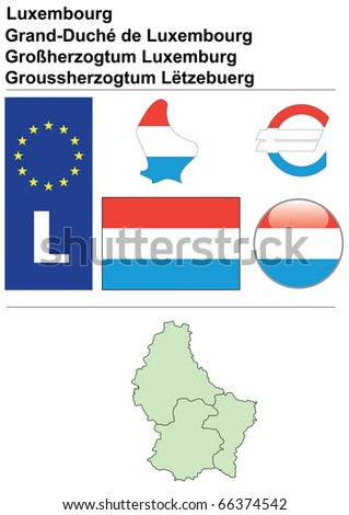Raster version (vector available in my portfolio) of Luxembourg collection including flag, plate, map (administrative division), symbol, currency unit & glossy button