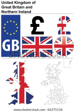 Raster version (vector available in my portfolio) of United Kingdom collection including flag, plate, map (administrative division), symbol, currency unit, glossy button. - stock photo