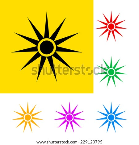 Raster version. Warning sign of optical radiation with color variations.  - stock photo