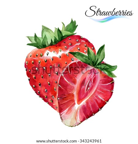Raster version. Watercolor fruit strawberries isolated on white background - stock photo