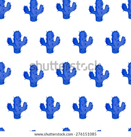 raster version watercolor seamless pattern with hand drawn cactus. Nature ornament. Original background with blue cacti.  - stock photo