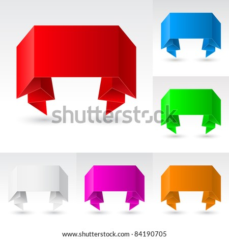 Raster version. Wave Banners set number five. Illustration on white background for design - stock photo