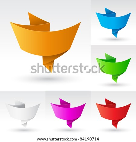Raster version. Wave Banners set number four. Illustration on white background for design - stock photo