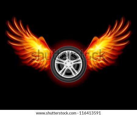 Raster version. Wheel with fire wings. Illustration on black - stock photo