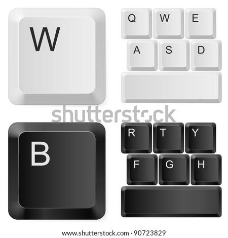 Raster version. White and black computer keys. Illustration on white background - stock photo