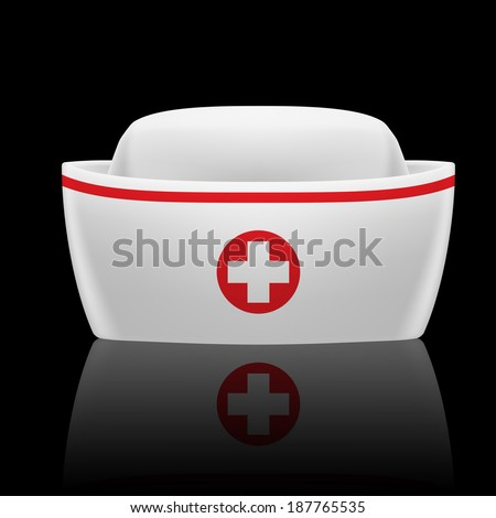 Raster version. White and red nurse cap with reflection  on black background  - stock photo
