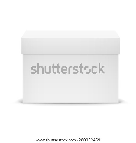 Raster version. White closed cardboard box isolated on white background  - stock photo