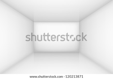 Raster version. White empty room interior. illustration for design - stock photo