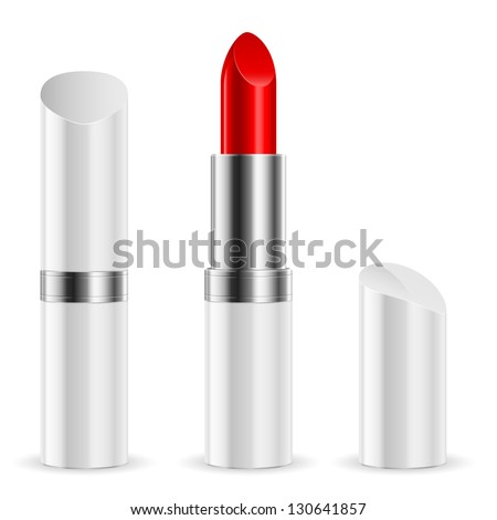 Raster version. White lipstick closed and open. Illustration on white background.
