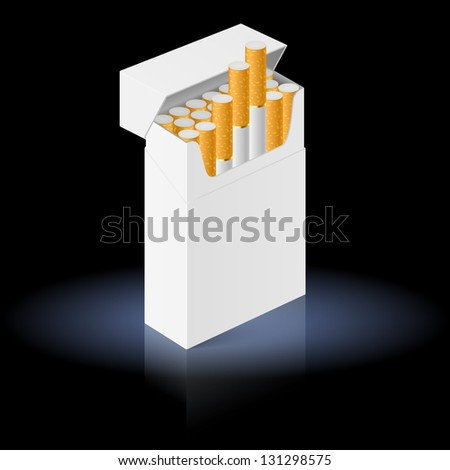 Raster version. White Pack of cigarettes isolated on black background - stock photo