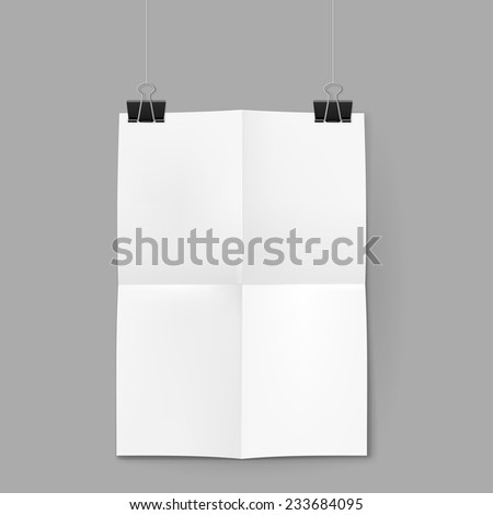 Raster version. White paper sheet on neutral background hanging on clips  - stock photo