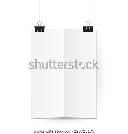 Raster version. White sheet of paper folded in two hangs on two black  binder clips  - stock photo