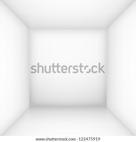 Raster version. White simple empty room interior, box. Illustration for design - stock photo