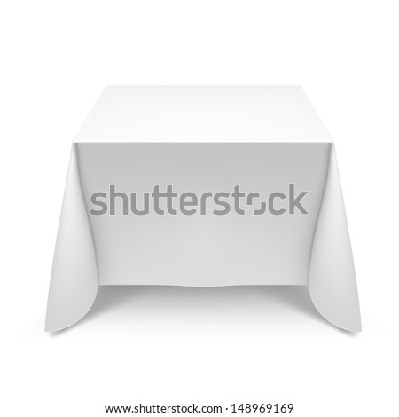 Raster version. White square table with tablecloth. Illustration on white - stock photo