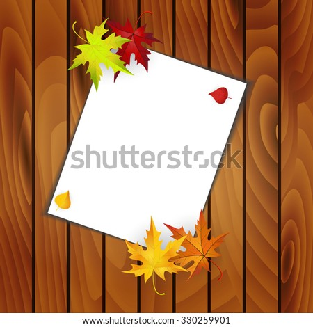 Raster version. Wooden Background With Autumn Leaves and White sheet With Text Space. Also Suitable For Commerce and Household Use. Illustration.  - stock photo
