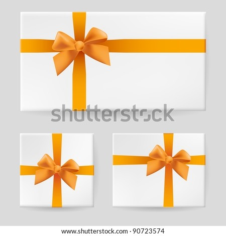 Raster version. Yellow gift bow. Illustration on gray background for design - stock photo