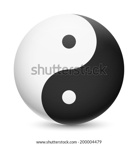 Raster version. Yin and Yang symbol on white background. Harmony and balance of opposites - stock photo