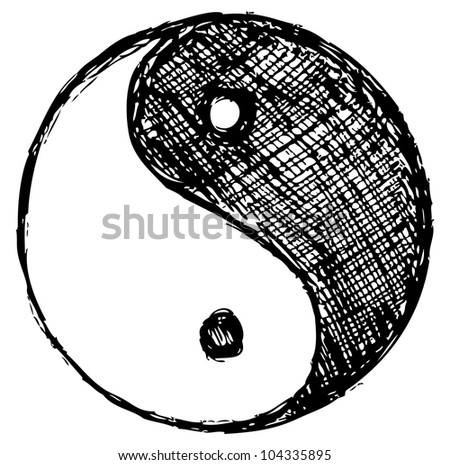 Raster version. Ying yang sketch symbol - stock photo