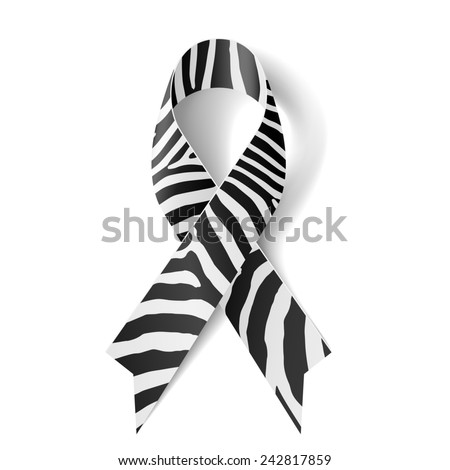 Raster version. Zebra - print ribbon as symbol of rare-disease awareness, Ehlers-Danlos syndrome - stock photo