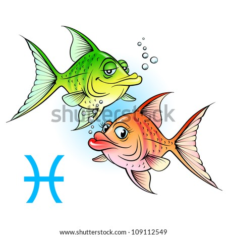 Raster version. Zodiac signs. Two cartoon fish. Illustration on white - stock photo