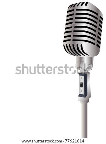 Raster Vintage Microphone with Room for Your Text - stock photo