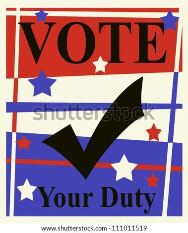 raster vote political graphic design poster - stock photo
