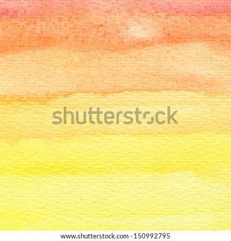 Raster watercolor and paper texture. Spectrum stripes. - stock photo