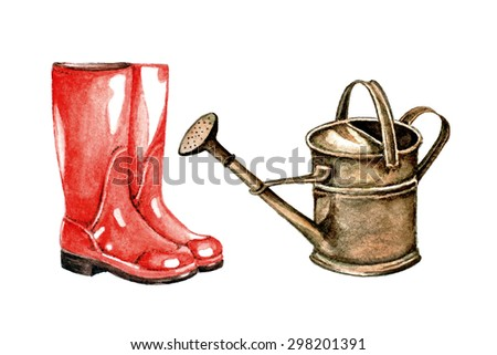 Raster watercolor hand drawn rubber boots and garden watering isolated - stock photo