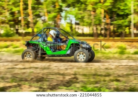 Raster watercolor illustration of a buggy race car in motion. - stock photo