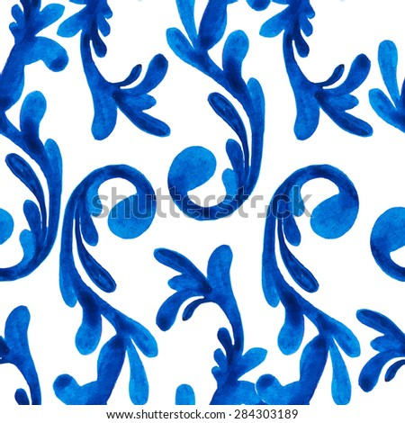 Raster watercolor seamless pattern with hand drawn swirl elements. Elegant ornament. Original background good for cards, posters, web design, textile print, banners etc. - stock photo