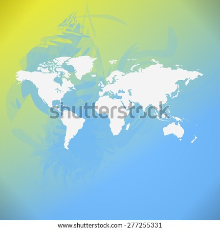 Raster watercolor World Map background.  - stock photo