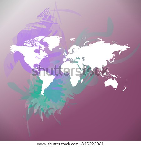 Raster watercolor World Map background