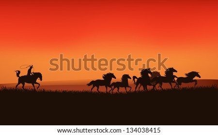 raster - wild west prairie landscape - cowboy chasing the herd of wild horses at the sunset (vector version is available in my portfolio) - stock photo