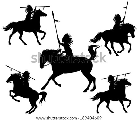 raster - wild west silhouettes - native american warriors riding horses (additional format also available) - stock photo